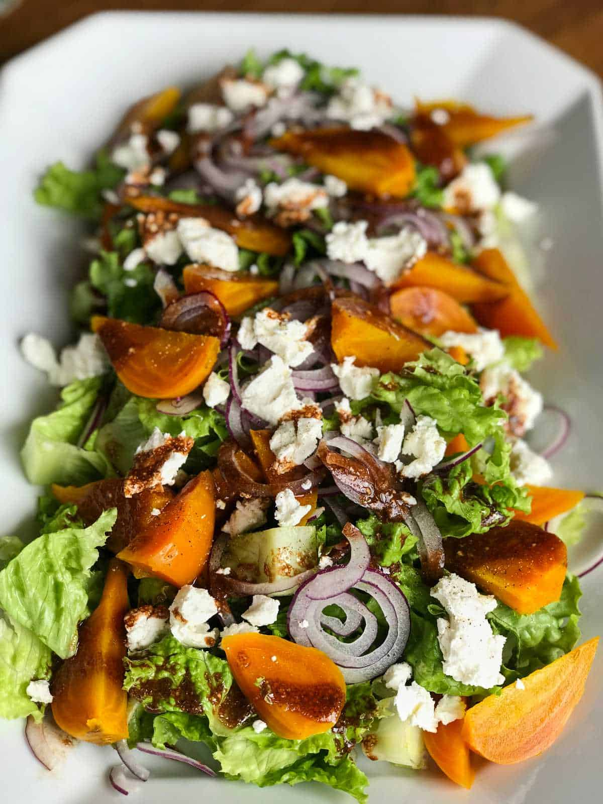 Salad with golden beets and goat cheese.