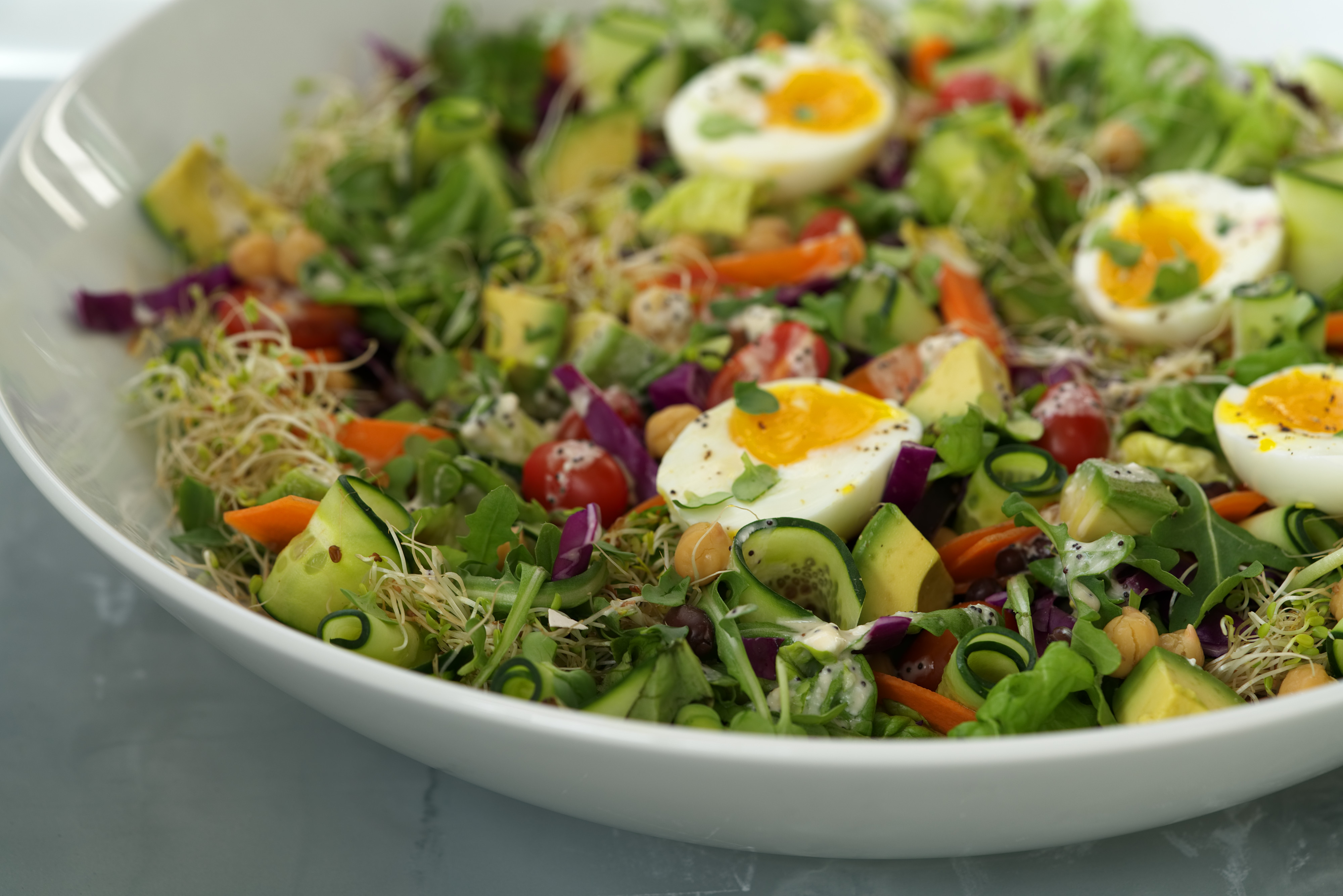 Hearty Tossed Green Salad with Poppy Seed Dressing