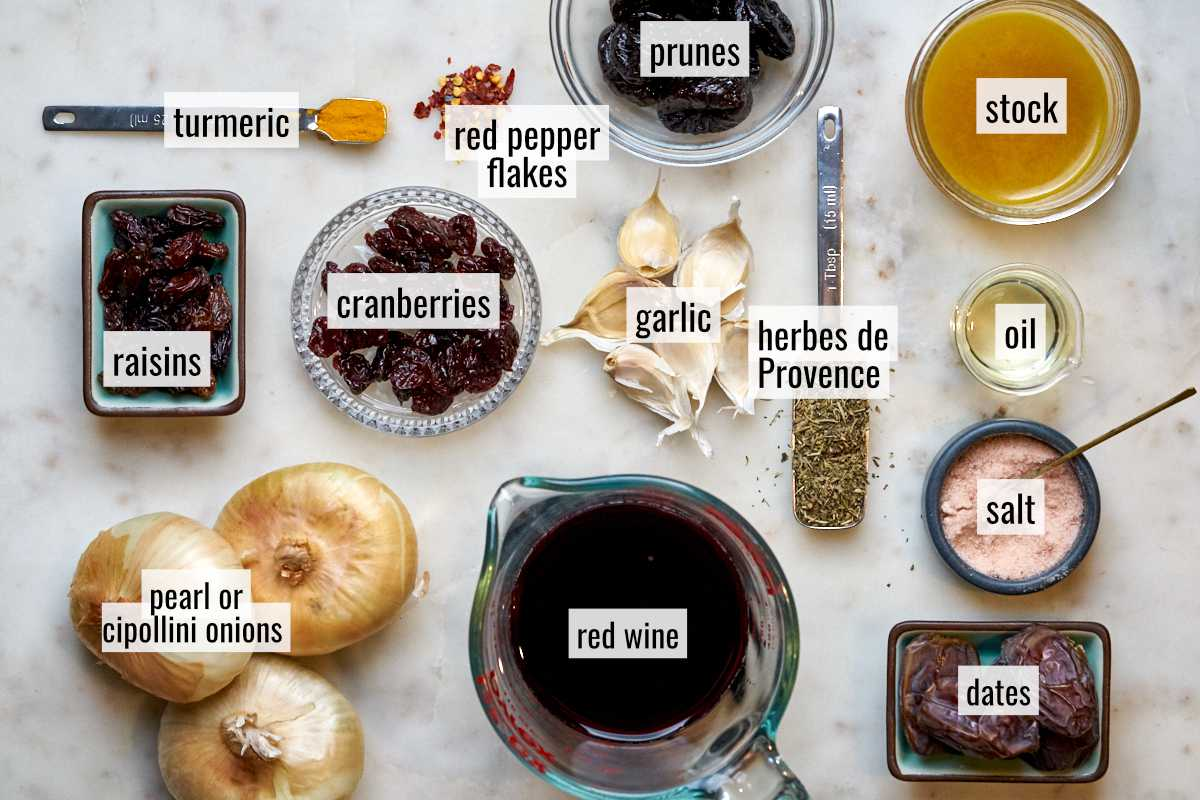 Ingredients for a marinade on a countertop.