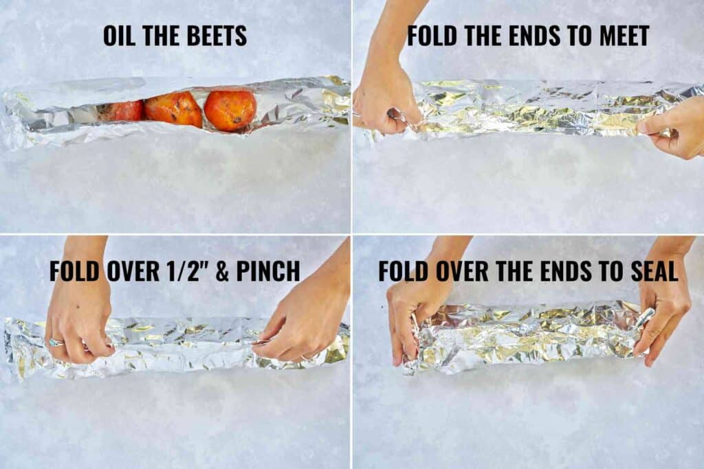 How to wrap beets in foil to roast them.