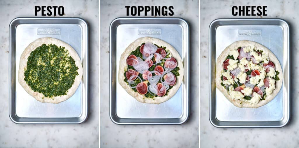 Putting toppings on a round pizza on a baking sheet.