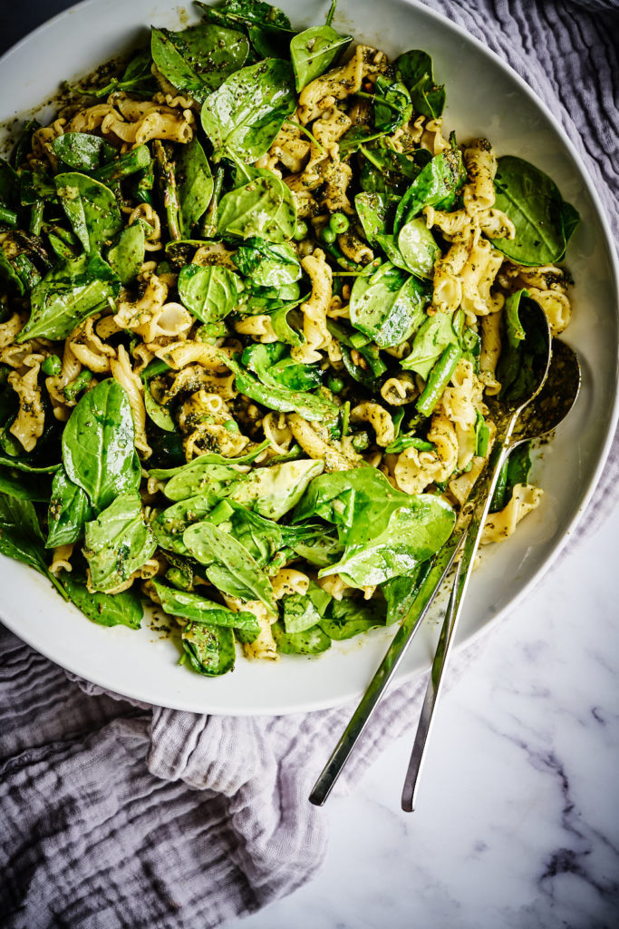 Pesto Pasta with Spinach in a serving bowl.