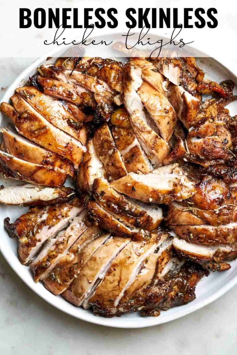 Top view of sliced chicken on a plate with title text.