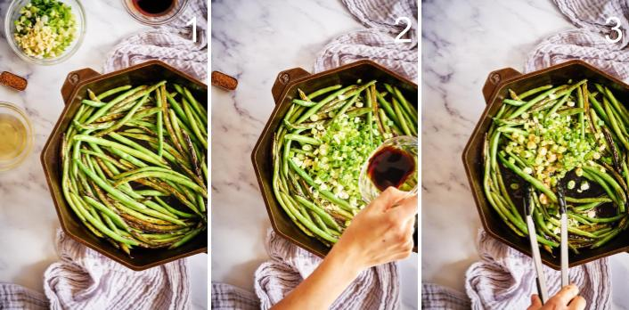 Step by step cooking green beans in a  cast iron pan.