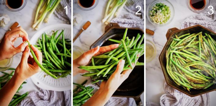 Step by step trim and cook green beans in cast iron.
