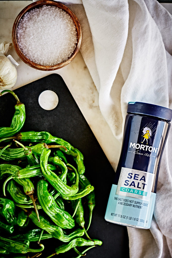 Morton sea salt with green peppers.
