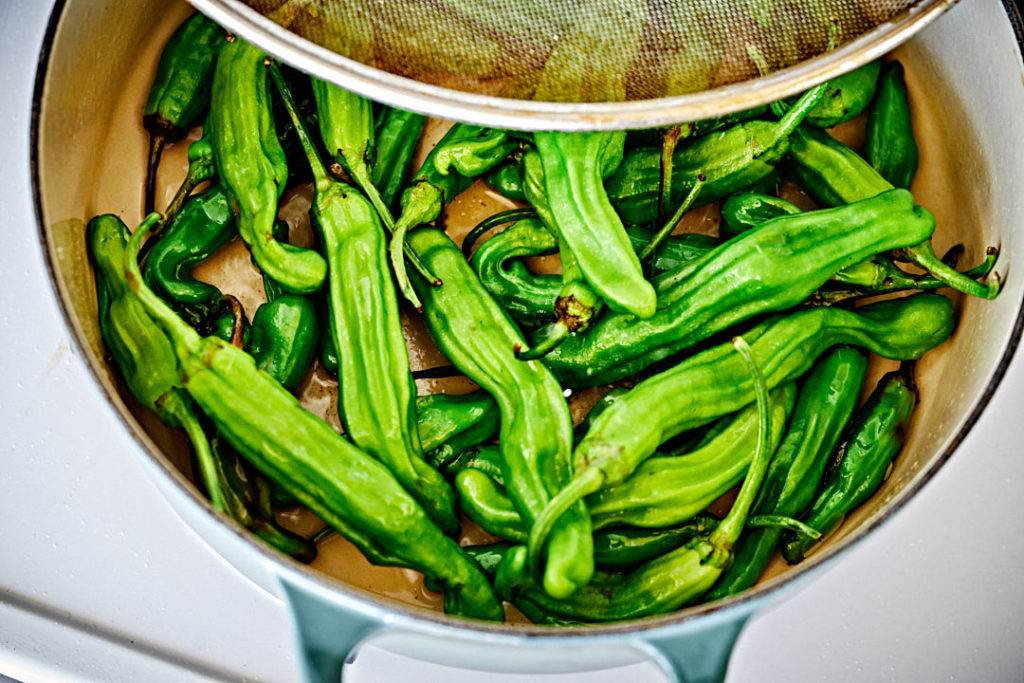 Green peppers cooking.