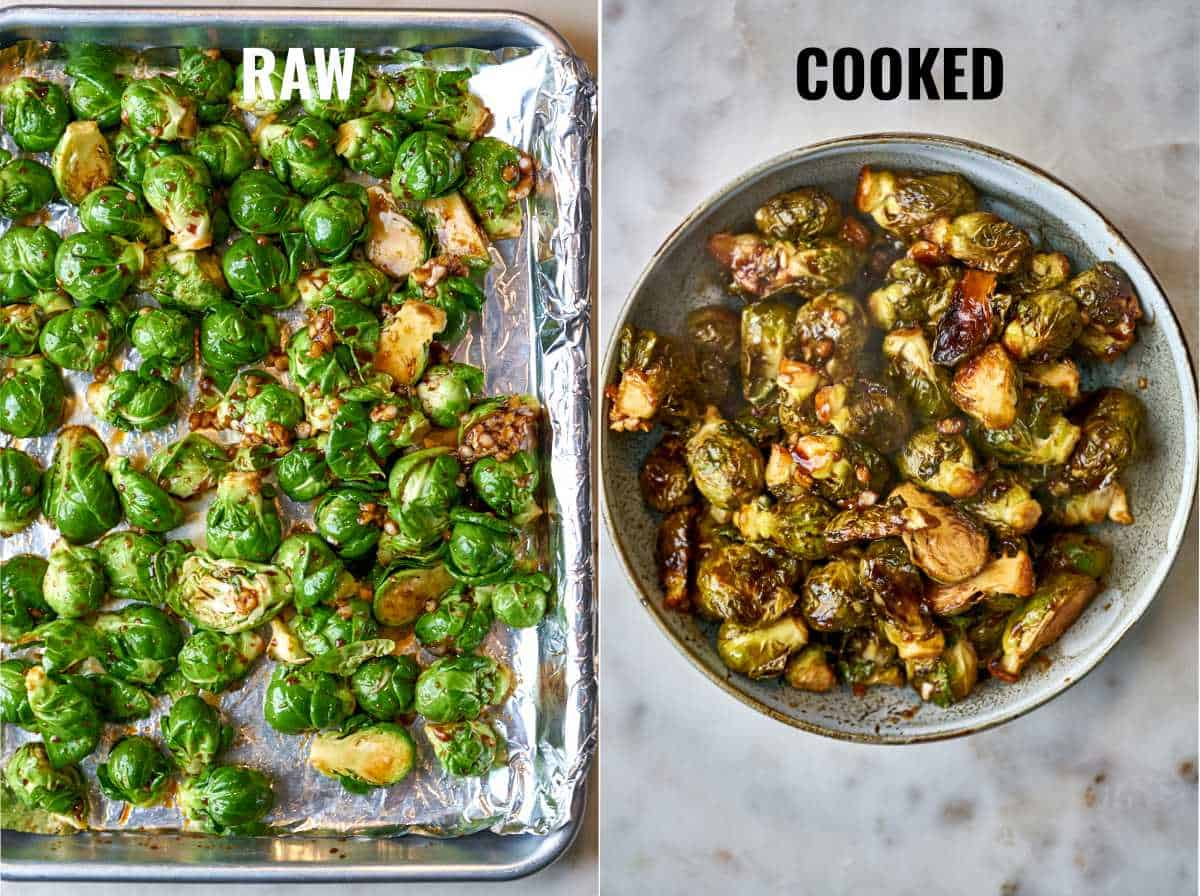 Brussel sprouts on a baking sheet and in a bowl.