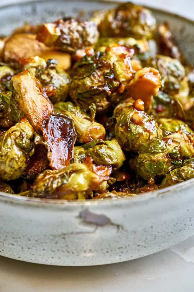 Saucy brussel sprouts in a bowl.