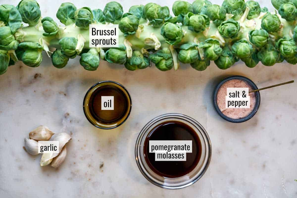 Brussel sprouts and other ingredients on a countertop.