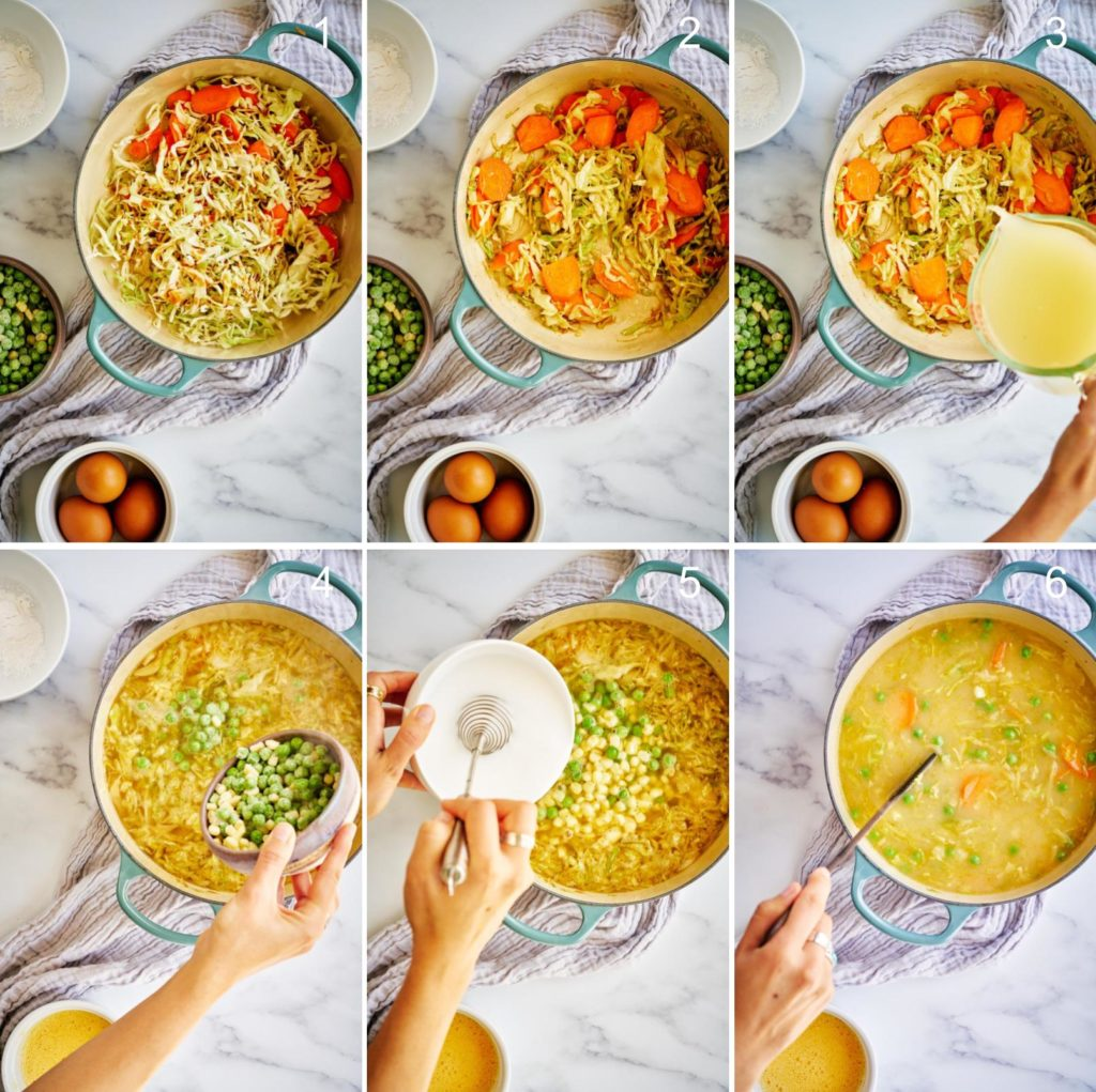 Step by step making egg drop soup with vegetables.
