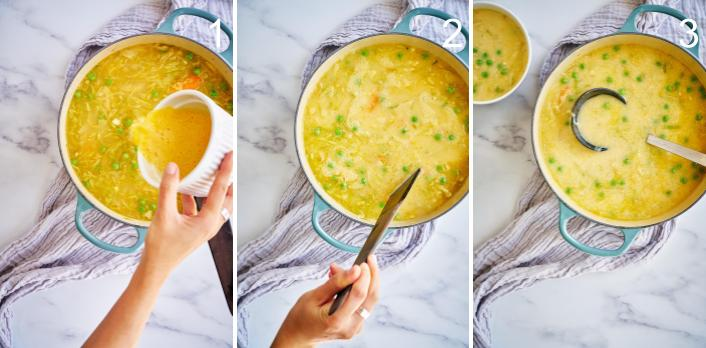 Step by step adding eggs to soup.