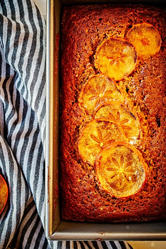 Persimmon bread in a loaf pan.