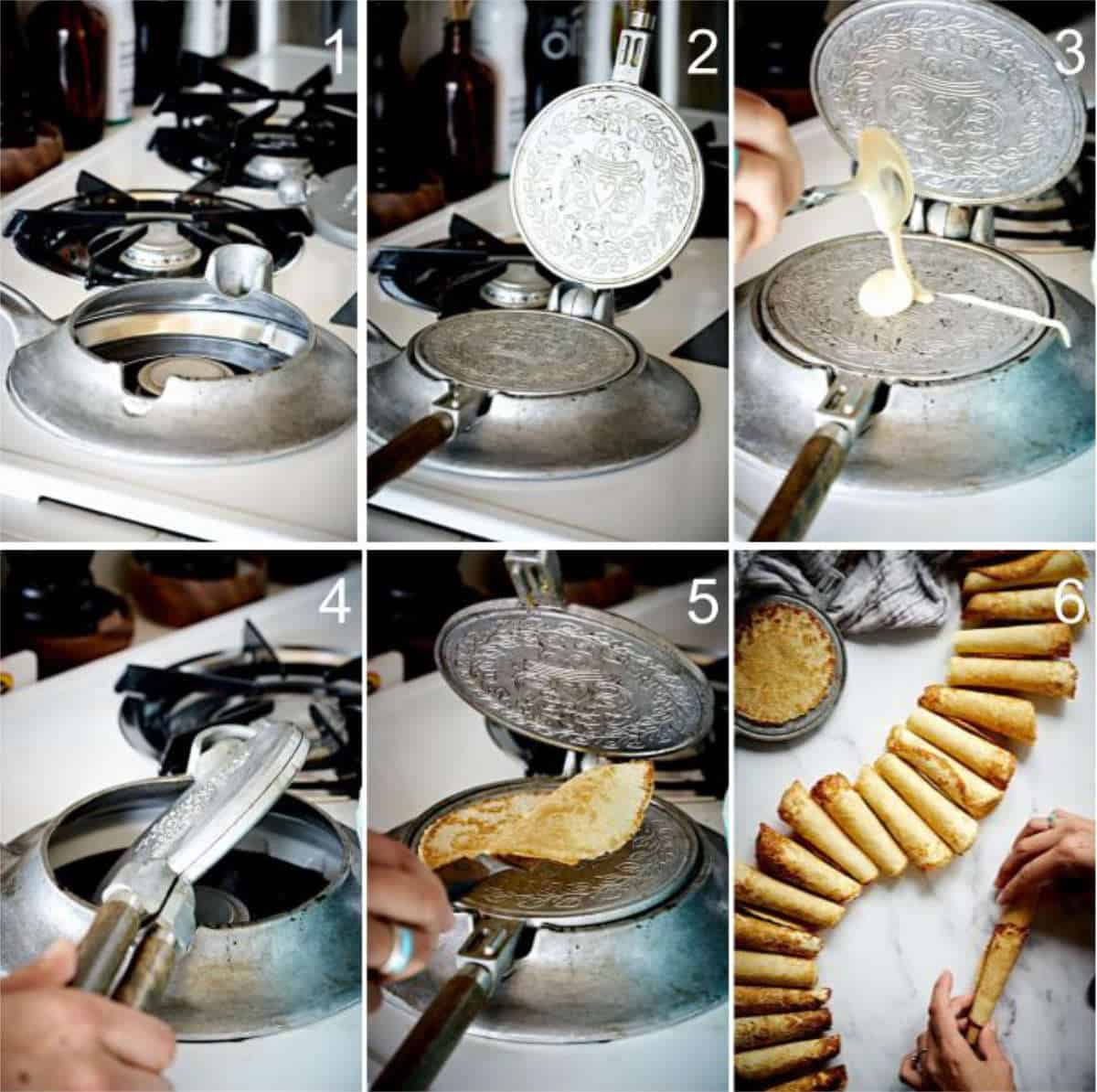 Step by step krumkake iron on stove.