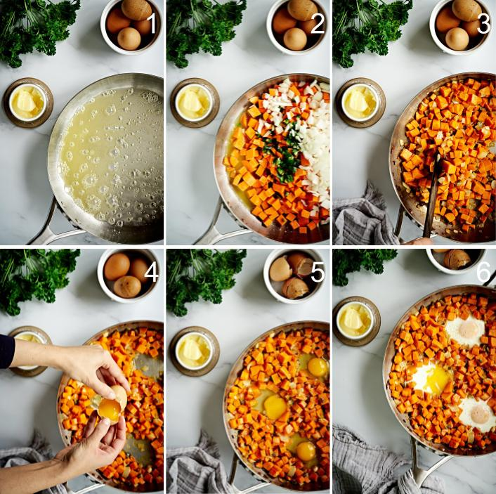 Step by step sweet potato hash.