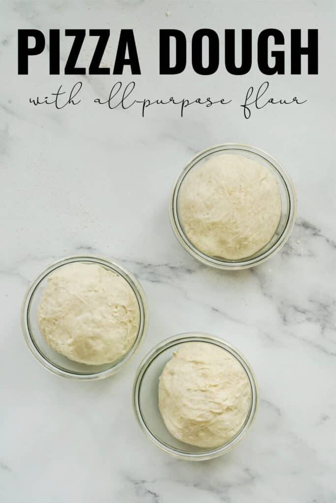 Three jars with balls of dough in them on white marble with title text.