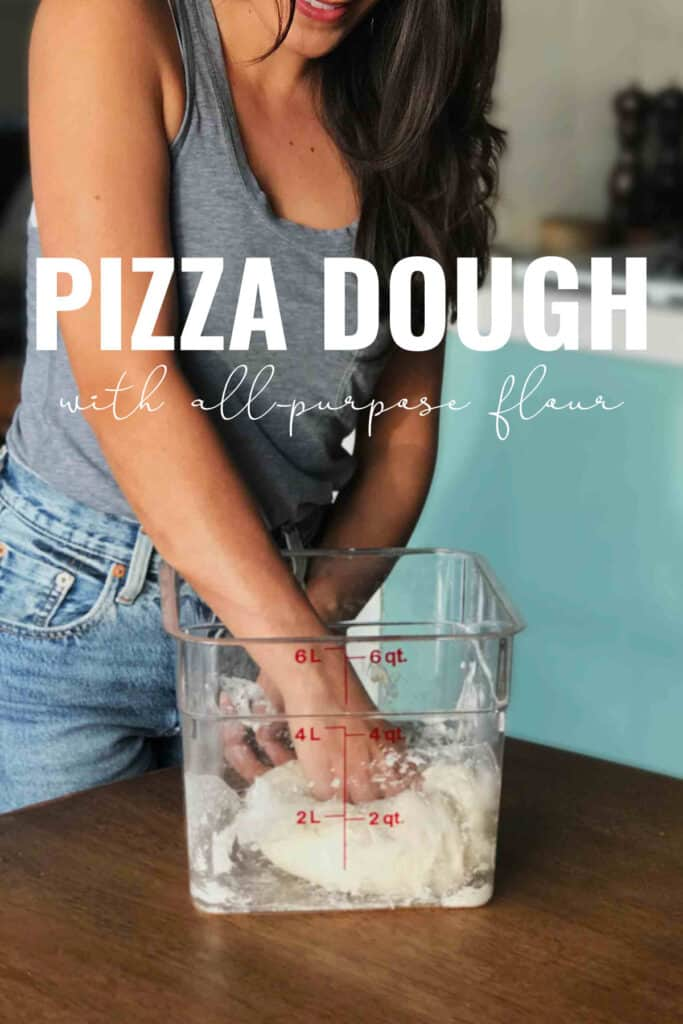 Woman kneading dough in plastic container with title text.