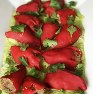 Lamb Stuffed Piquillo Peppers with Avocado Lime Puree