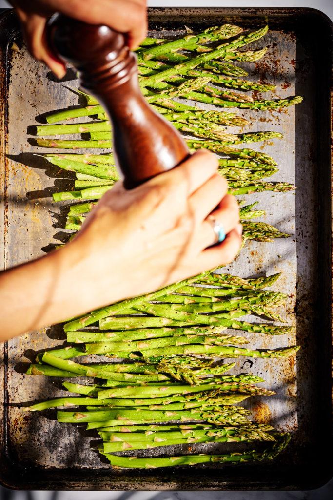 Seasoning Asparagus.