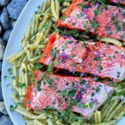 Salmon over pasta.