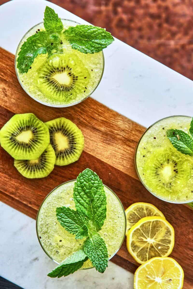 Three glasses of kiwi cocktails.