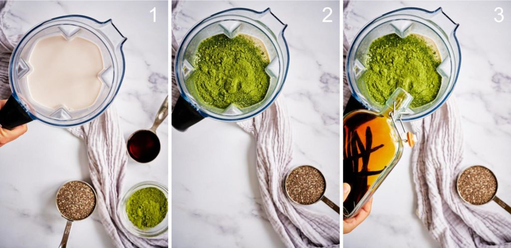 Step by step blending sweetened matcha latte.