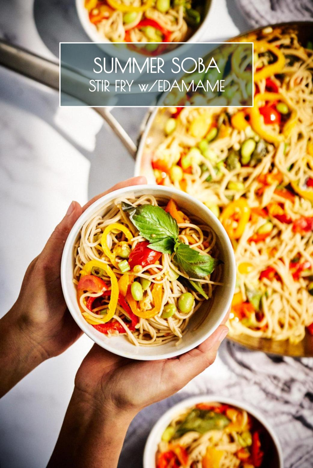 Soba Noodle Stir Fry with Edamame | Soba noodle stir fry w/summer veggies brings together unexpected flavors in a magical way. The perfect marriage of east and west & it\'s ready in 20 minutes! #noodles #stirfry #soba #quickdinner