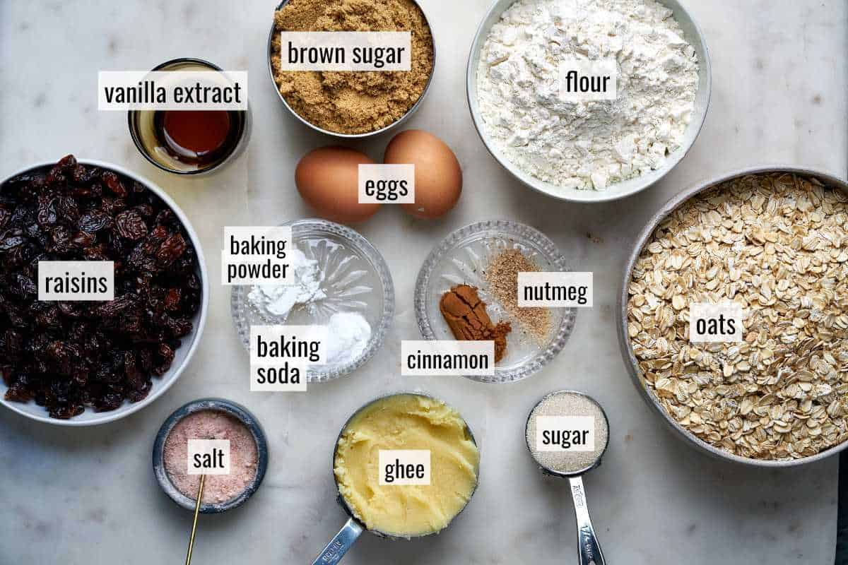 Cookie ingredients on a white countertop.