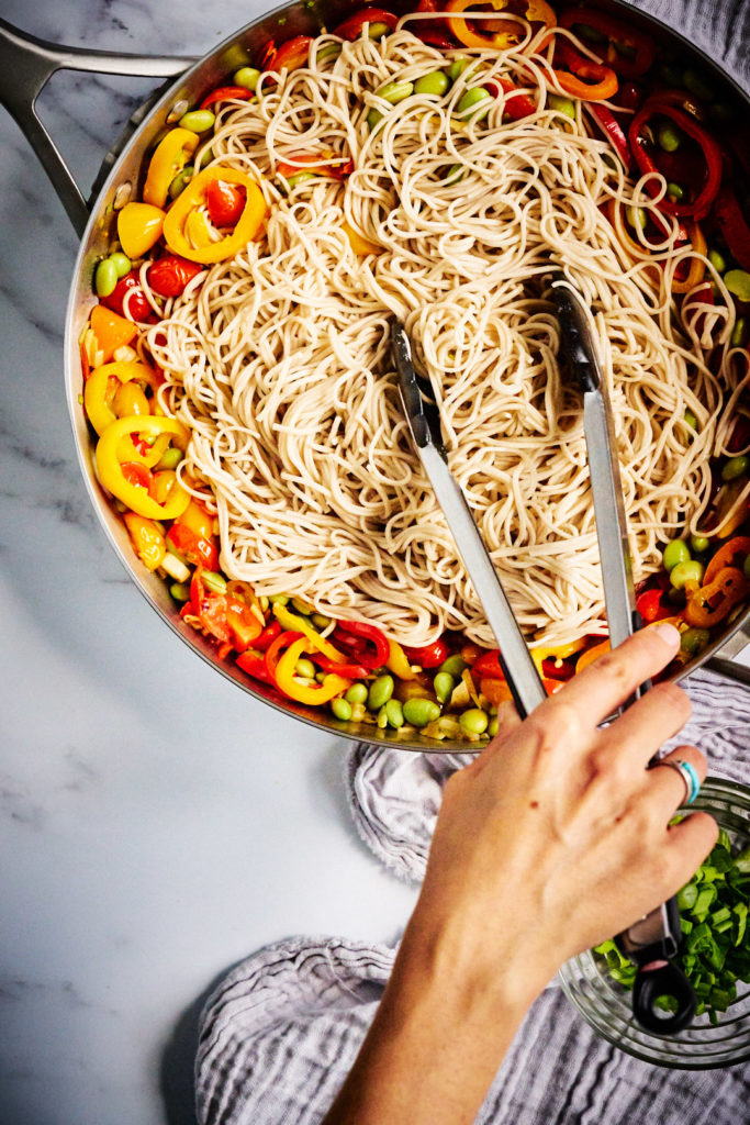 Soba Noodle Stir Fry with Edamame | The perfect marriage of east and west & it's ready in 20 minutes! #soba #noodle #stirfry #quickrecipe