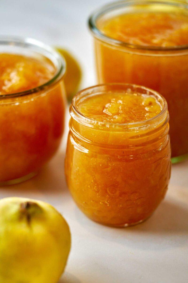 Orange jam in jars.