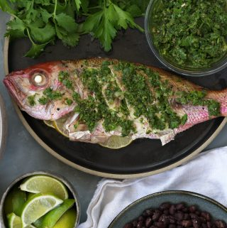 Whole Roasted Snapper with Chimichurri, and Spanish Rice