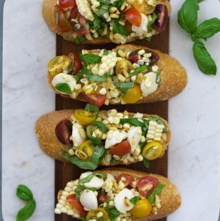 Corn, Tomato, & Basil Mozzarella Bruschetta