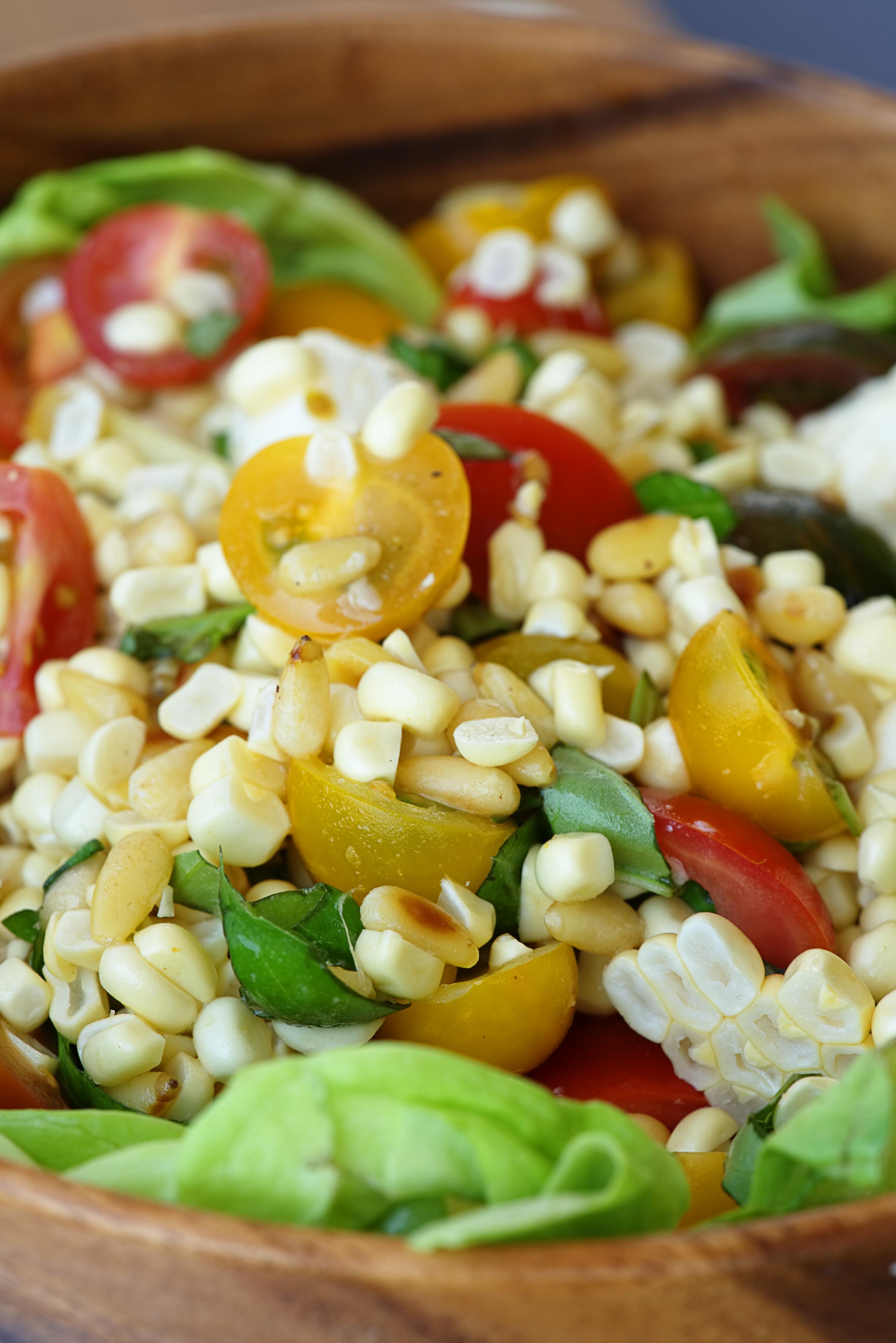 Corn, Tomato, & Basil Mozzarella Bruschetta | Proportional Plate