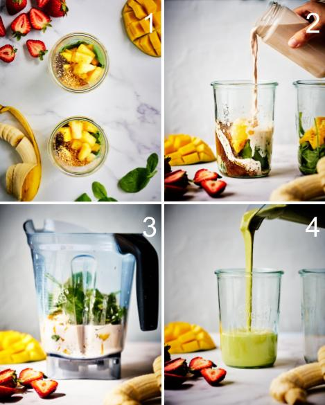 Step by step making a smoothie