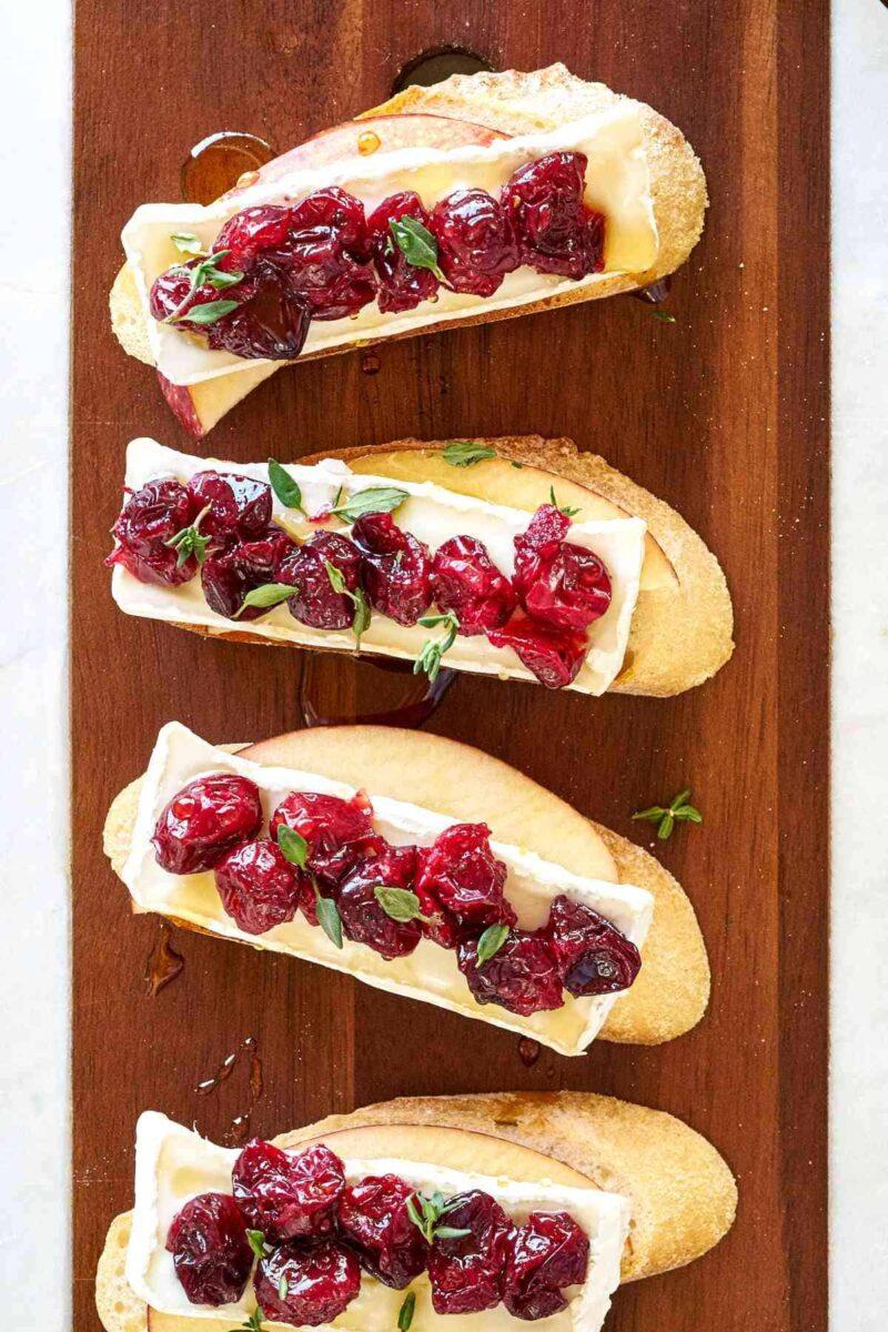 Crostini on a cutting board.
