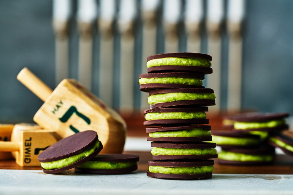 Dark Chocolate Gelt & Matcha Mousse Sandwiches   Proportional Plate