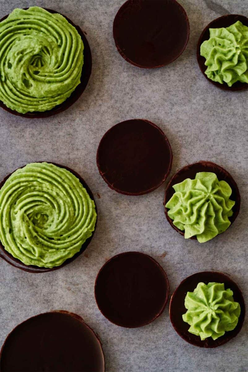 Chocolate discs topped with green piping.