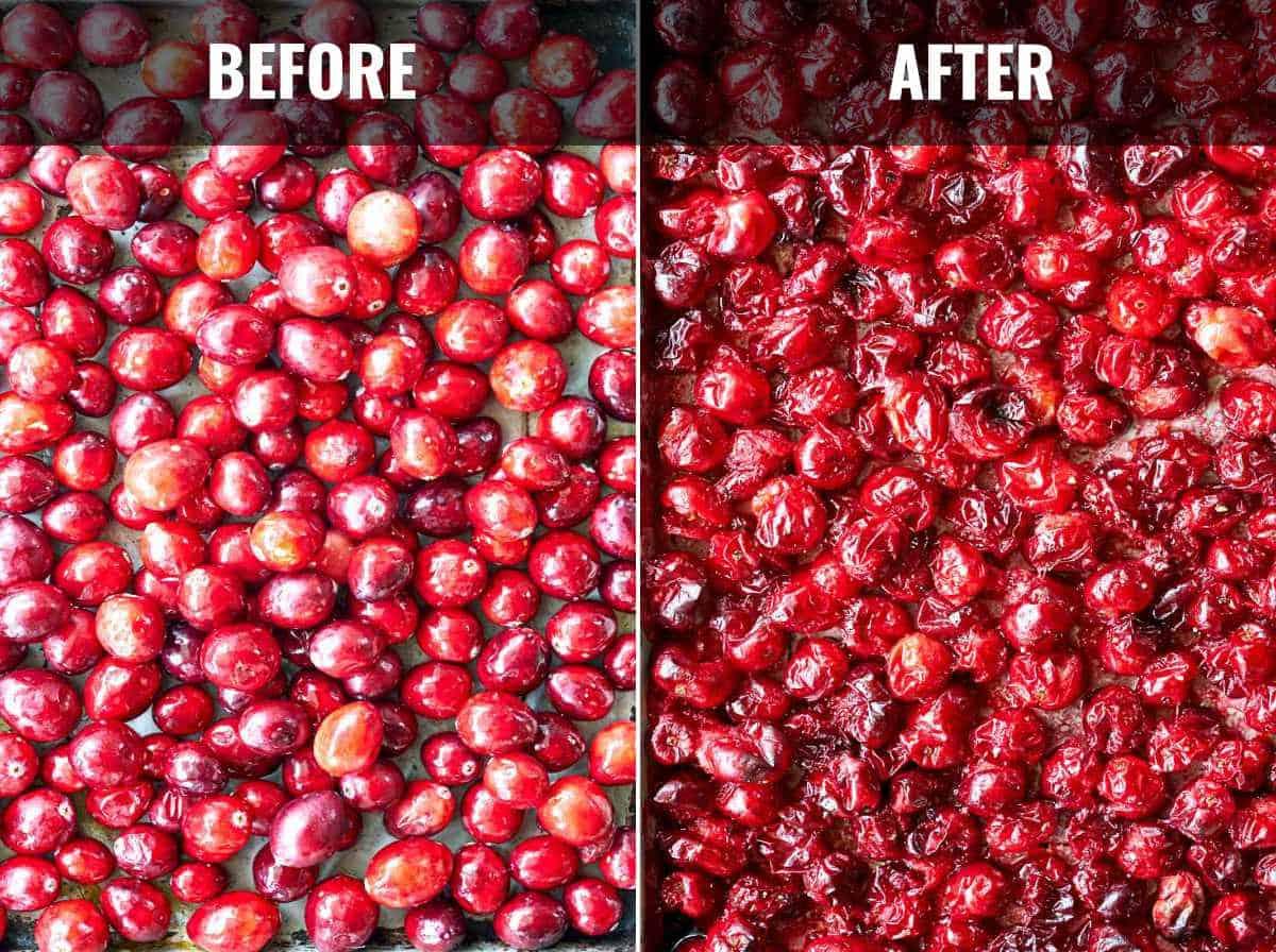 Cranberries on a baking sheet.