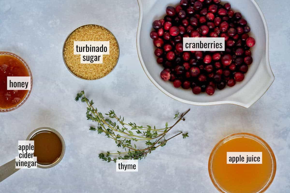Labeled ingredients like cranberries and apple juice.