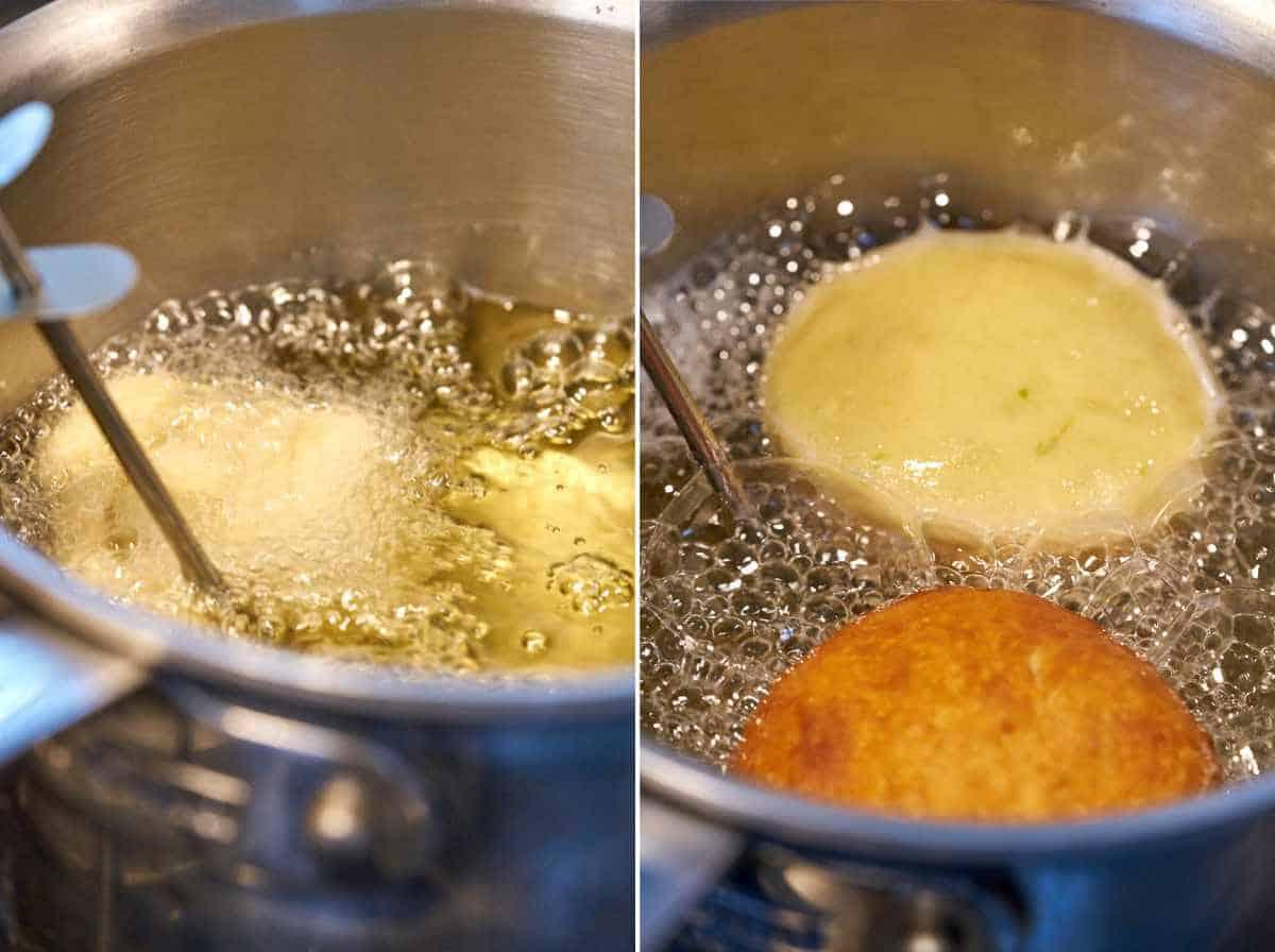 Frying dough in oil.