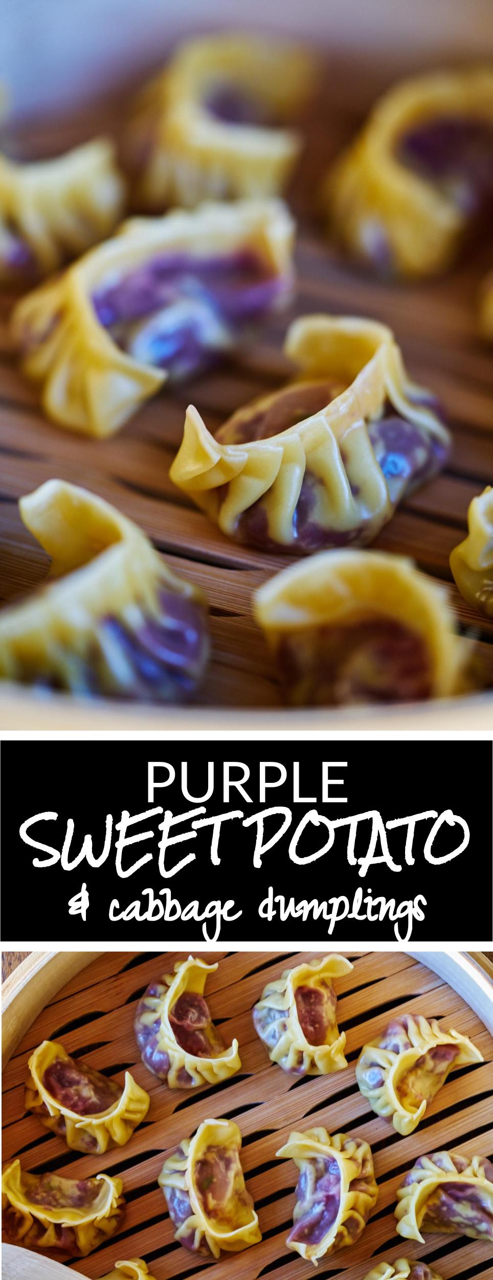 Purple Sweet Potato & Cabbage Dumplings | Proportional Plate #vegan