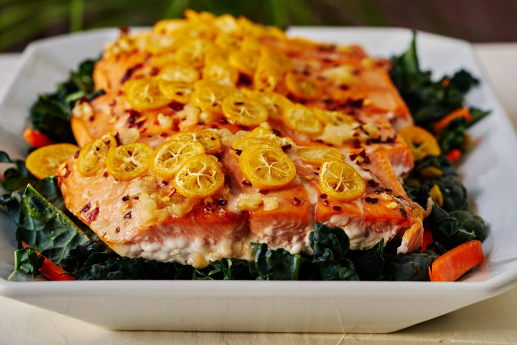 Chili Kumquat Salmon w/Pickled Kumquat Kale Salad | Proportional Plate