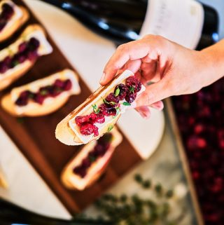 Cranberry, Thyme, Brie, & Apple Crostini & My Favorite Wine Pairing Trick