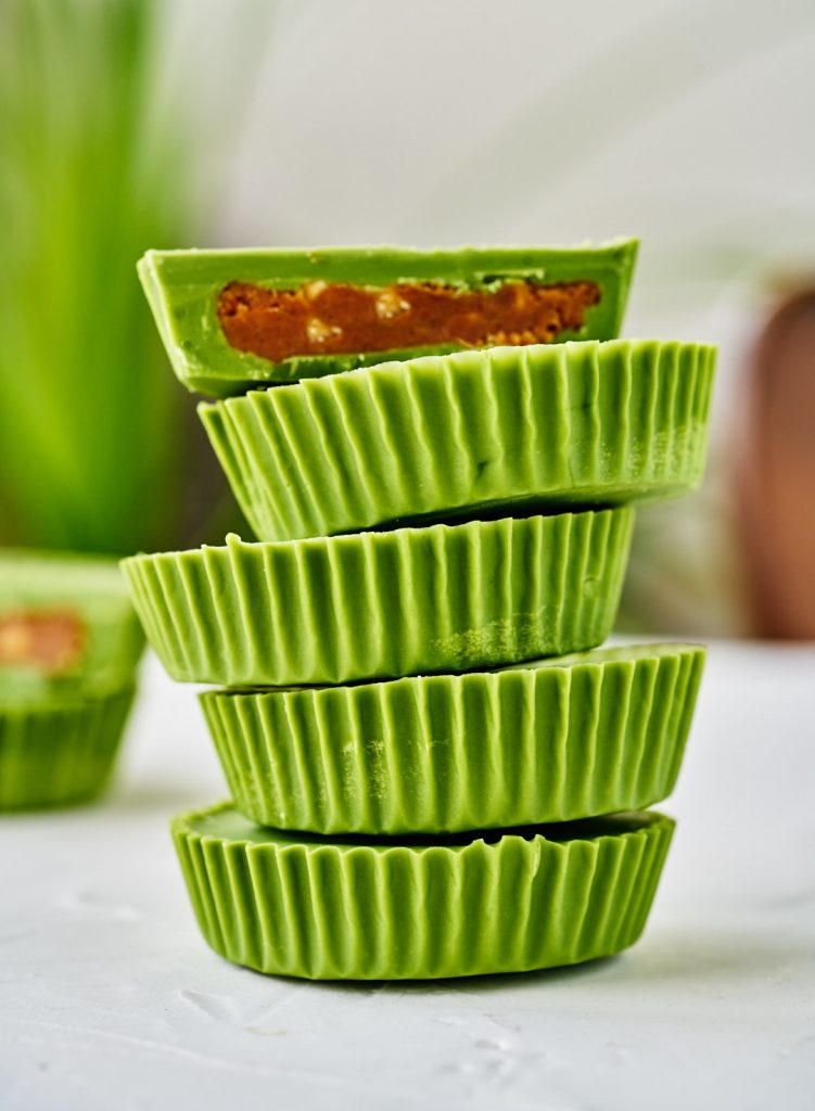 Green stacked peanut butter cups.