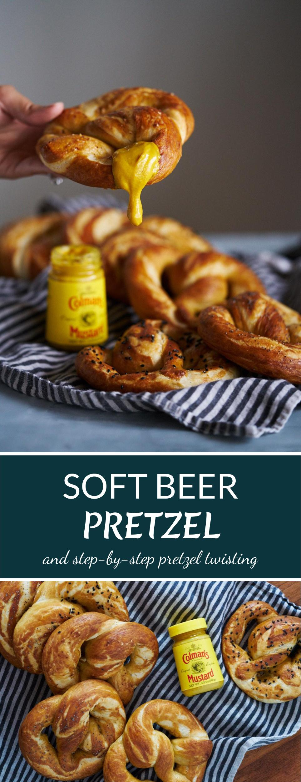 Soft Beer Pretzel with Mustard & All the Toppings! | Proportional Plate