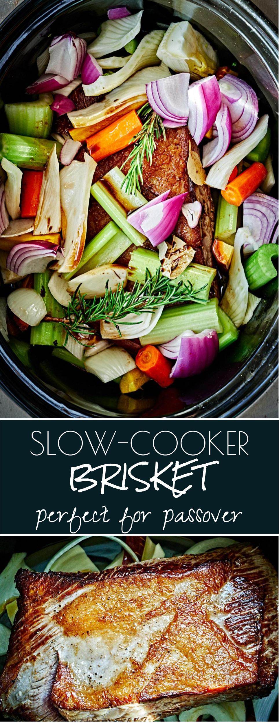 Simple Slow-Cooker Passover Brisket | Proportional Plate | Looking for an incredibly simple slow-cooker passover brisket? Well, here you go! It's simple, delicious, and even better in sandwiches the next day.