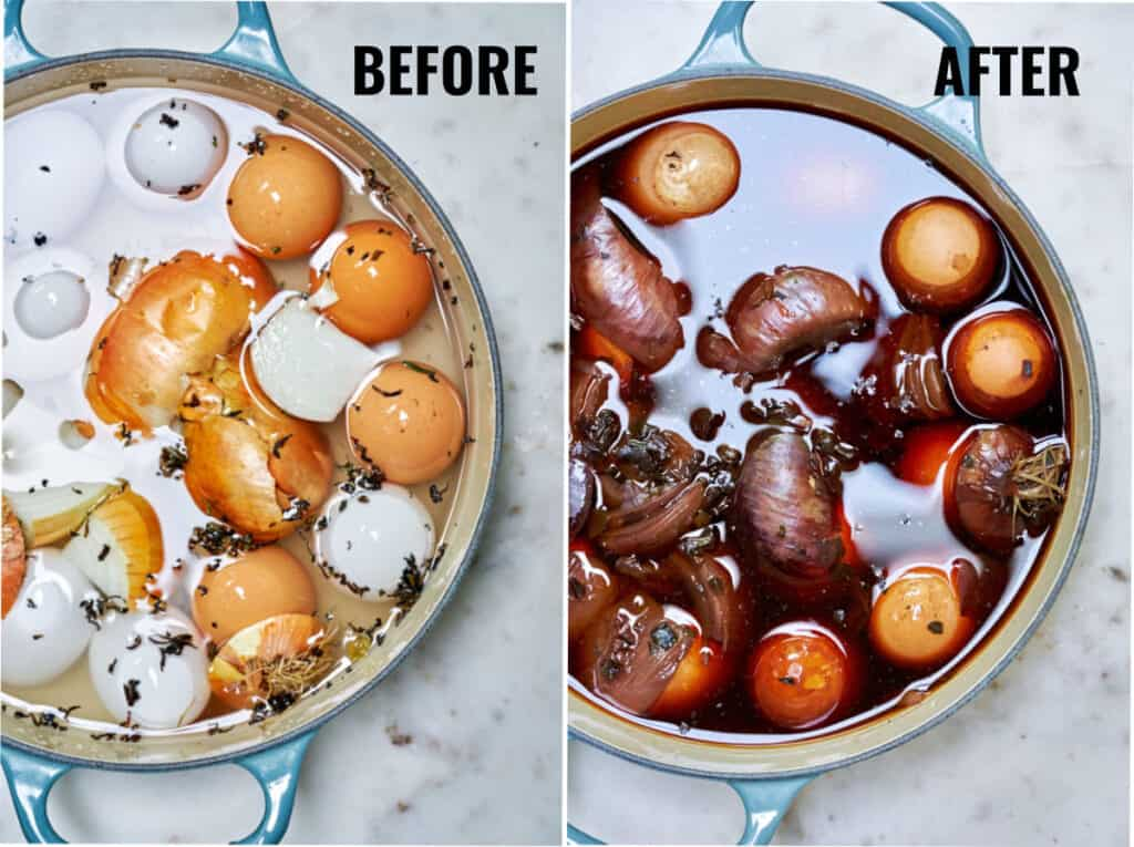 Before and after hard boiling of a dozen eggs with onion and tea in a pot.