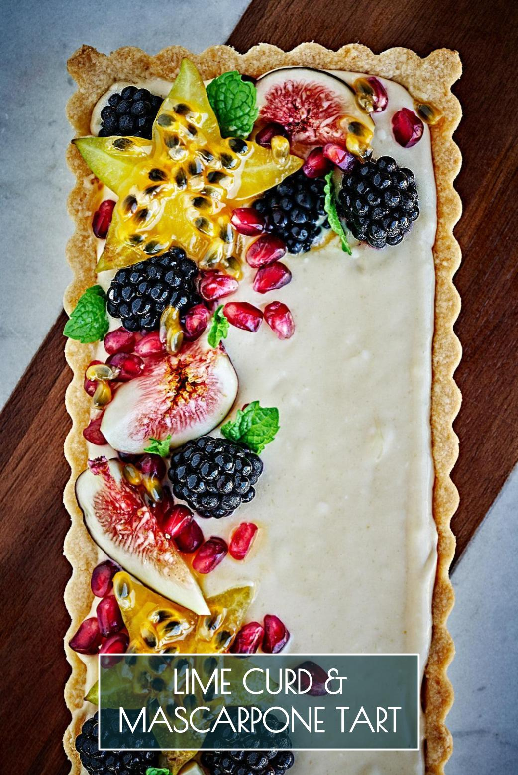 Lime Curd & Mascarpone Fruit Tart| Proportional Plate | My favorite lime curd recipe elevated for any gathering, holiday, or afternoon tea in this lime curd & mascarpone fruit tart.