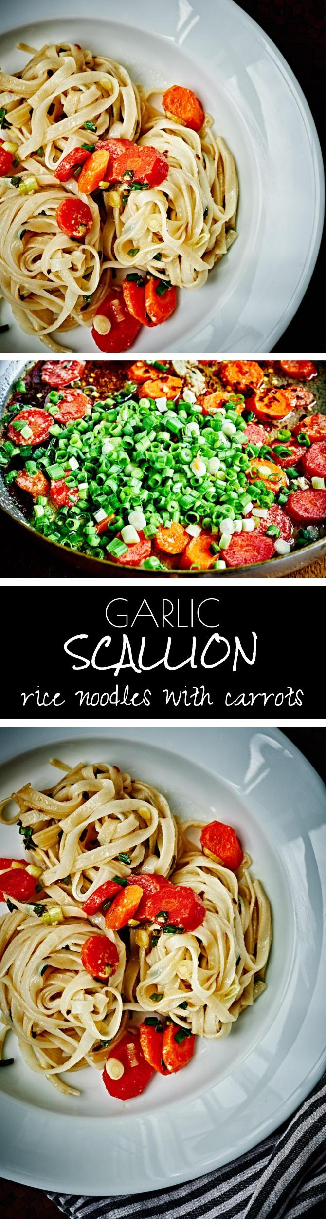 Garlic Scallion Rice Noodles with Carrots | Proportional Plate | Garlic scallion rice noodles with carrots is exactly what I want when I\'m craving take-out...and ready even faster than they can deliver!