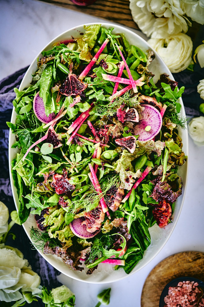 Herb Salad with Pomegranate Miso Dressing | Proportional Plate